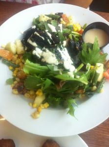 Portobello Salad Large grilled portobello mushroom pieces, roasted corn, roasted potatoes with a fabulous dressing.