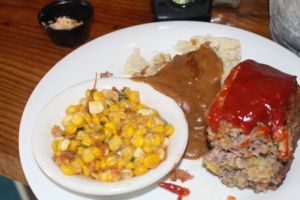 Meat Loaf, Corn and mashed potatoes.