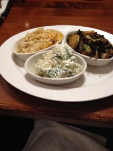 Veggie Plate: Grilled Brussels, Potato Salad, Mashed Cauliflower